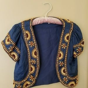 Anthropologie Ruth blue beads shrug cardi jacket 6
